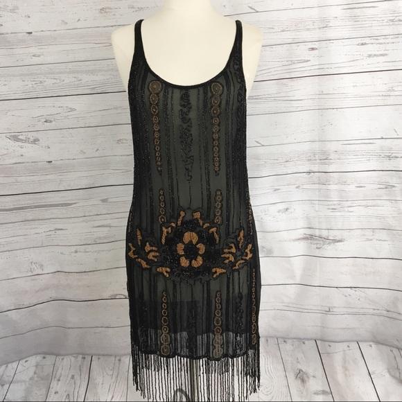 f72318fca17f Haute Hippie Dresses & Skirts - Haute Hippie beaded fringe flapper dress
